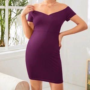 Maternity Off Shoulder Solid Dress